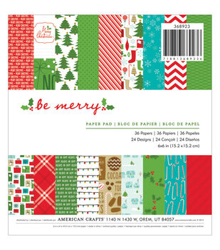 "American Crafts Paper Pad 6""X6"" 36/Pkg-Be Merry"