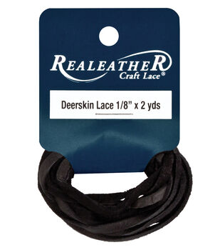 "Deerskin Lace .125"" Wide 2yd-Black"