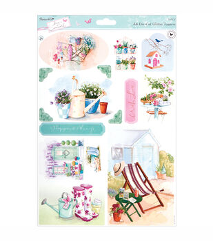 Papermania Die-Cut Toppers A4 Sheet Garden With Glitter Accents