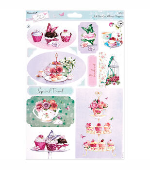 Papermania Die-Cut Toppers A4 Sheet Tea With Glitter Accents