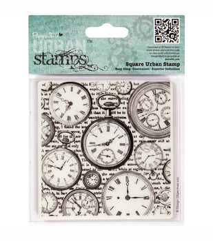 """Papermania Cling Urban Stamps 4"""" Square-Time Pieces"""