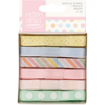 Docrafts Papermania Capsule Ribbon Spots & Stripes Pastels