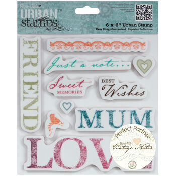 Docrafts Papermania Vintage Notes Urban Stamp Sentiments