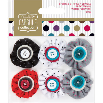 Docrafts Papermania Mini Fabric Flowers Pleated With Button Middles