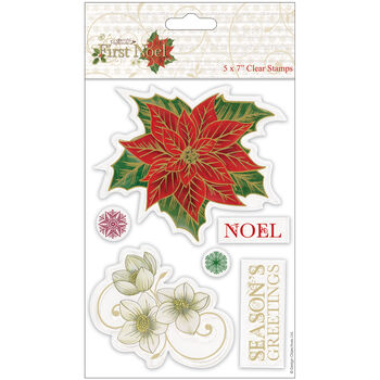Docrafts Papermania First Noel Clear Stamps Poinsettia