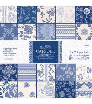 Papermania Parisienne Blue Paper Pack 6''x6''