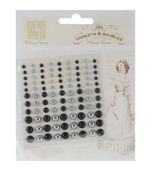 "Self-Adhesive Pearl Embellishments 3.75""X3.5"" Sheet-Black & Silver"