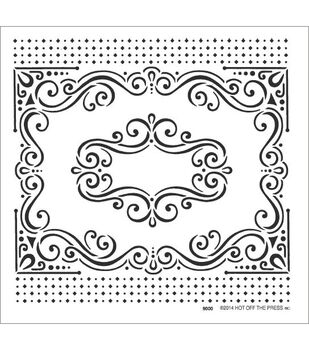 "Hot Off The Press Stencils 6""X6""-Fancy Frame"