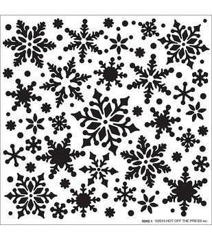 """Hot Off The Press Stencils 6""""X6""""-All Over Snowflakes"""