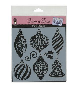 "Hot Off The Press Stencils 6""X6""-Small Christmas Ornaments"
