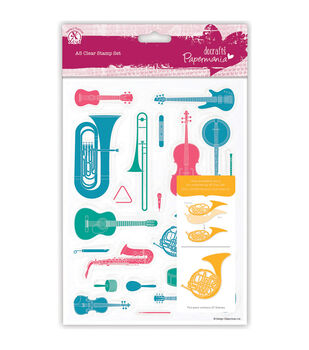 Papermania A5 Clear Stamps-Musical Instruments 23 Pieces