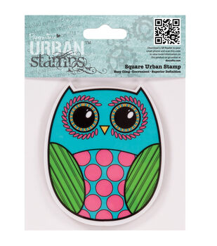 """Papermania Cling Urban Stamp 4""""X4""""-Owl"""