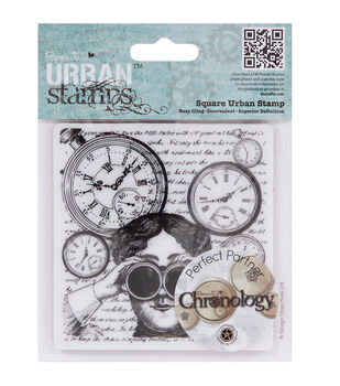 """Papermania Cling Chronology Stamp 4""""X4""""-Looking Glasses"""