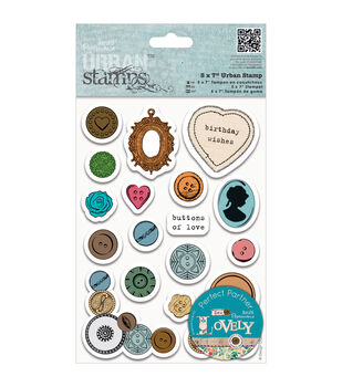 """Papermania Sew Lovely Urban Stamps 5""""X7""""-Mixed Buttons"""
