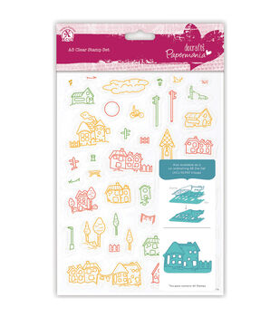 Papermania A5 Clear Stamps-Village 40 Pieces