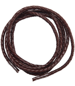 Round Braided Leather 3mm 40''/pk-Chocolate