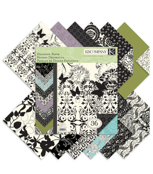 K &Company Black  & Ivory Double-Sided Paper Pad 12''x12''
