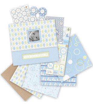 K & Company 12''x12'' Postbound Scrapbook Kit-Baby Boy