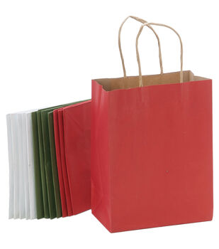 "Paper Bags 4.25""X8""X10.25"" 13/Pkg-Christmas Assorted"