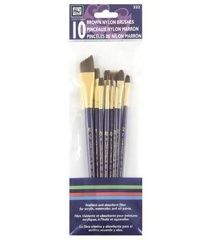 Simply Art Brown Nylon Brush Set 10Pk