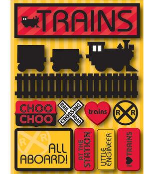 Reminsce Signature Dimensional Stickers-Trains