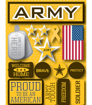 Reminsce Signature Dimensional Stickers-Army