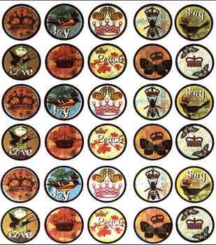 Vintage Collection Bottle Cap Digital Images 65/Pk-Birds & Crowns