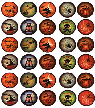 Vintage Collection Bottle Cap Digital Images 65/Pk-Halloween Craze
