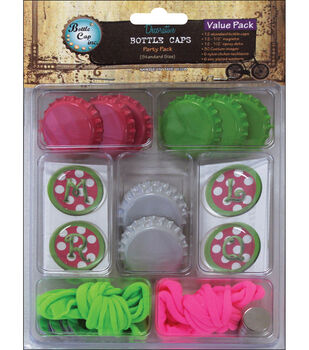 Vintage Collection Bottle Caps Value Pack-Pink Polka Dot