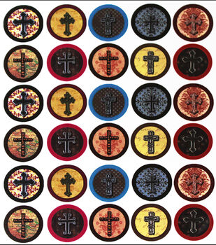 "Vintage Collection Custom Bottle Cap Images 1"" 65/Pk-Crosses"