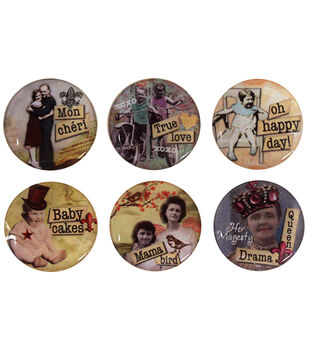"Vintage Collection Epoxy Stickers 1"" 6/Pk-Nostalgic 1"