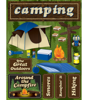 """Signature Dimensional Stickers 4.5""""X6"""" Sheet-Camping"""
