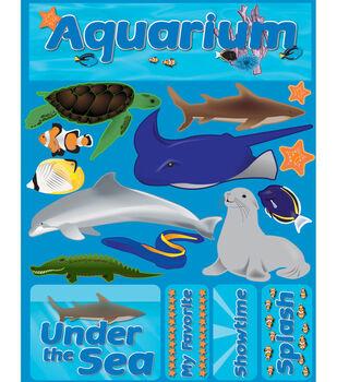 """Signature Dimensional Stickers 4.5""""X6"""" Sheet-Aquarium"""