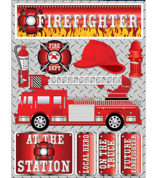 """Signature Dimensional Stickers 4.5""""X6"""" Sheet-Firefighter"""