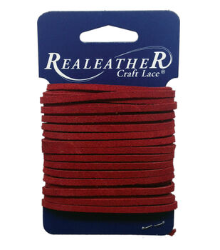 """Suede Lace, 1/8"""" x 8yd, Red"""
