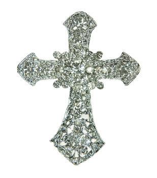 Laliberi Rhinestone Pin - Cross in Silver