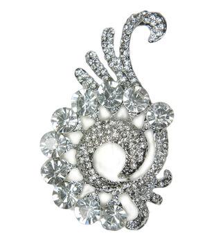 Laliberi Crystal Flourish In Silver Rhinestone Pin
