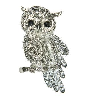 Laliberi Rhinestone Pin - Owl in Silver