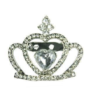 Laliberi Rhinestone Pin - Crystal Crown in Silver