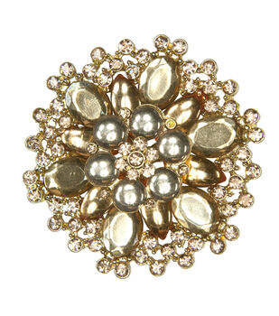 Laliberi Rhinestone Gold Crystal Rose Pin