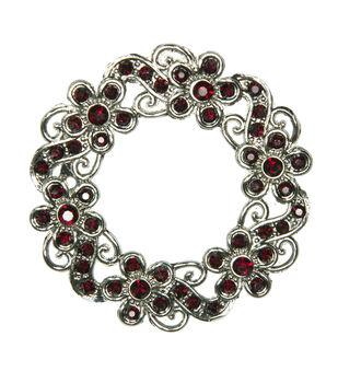 Laliberi Rhinestone Pin - Ruby Wreath in Silver