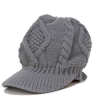 Laliberi Winter Knit Billed Cap In Light Grey