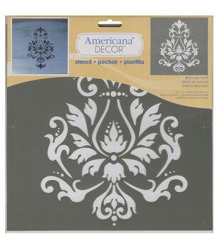 Americana Decor Stencil-Brocade Motif