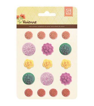 Basic Grey Vivienne Flowers Resin Stickers
