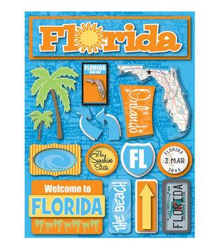 Reminisce Dimensional Stickers-Florida