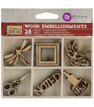 Stationer's Desk Laser Cut Wood Icons In A Box 28 Pieces-