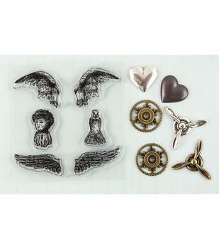 Prima Marketing Angel Wings Stamp-N-Add Stamp & Embellishment Set