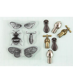 Prima Marketing Moth Wings Stamp-N-Add Stamp & Embellishment Set
