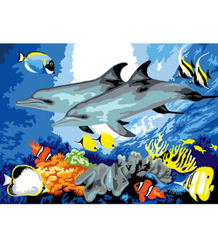 15-1/4''x11-1/4'' Junior Paint By Number Kit-Dolphins
