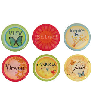 """Vintage Collection Epoxy Stickers 1"""" 6/Pk-Inspirational"""
